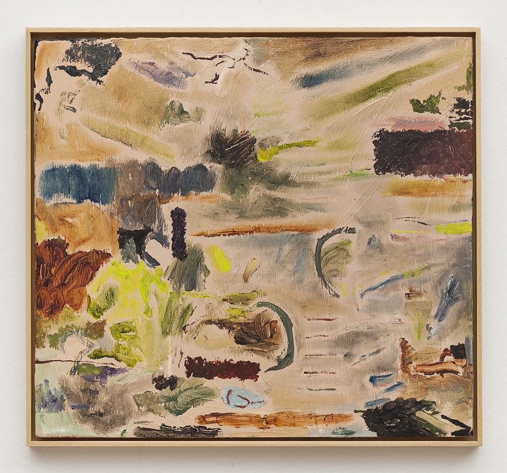 Joaquín Boz. <em>Untitled</em>, 2020. Oil on wood, 16 3/4 x 18 1/4 inches (42.6 x 46.4 cm)