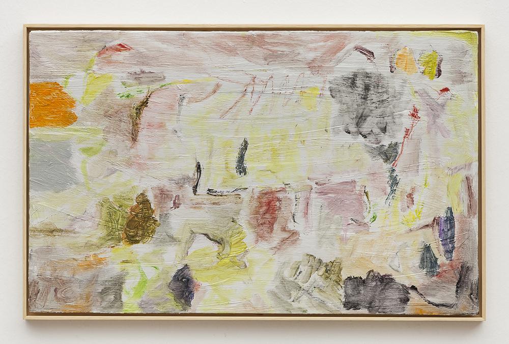 Joaquín Boz. <em>Untitled</em>, 2020. Oil on wood, 16 1/2 x 25 7/8 inches (42 x 65.7 cm)