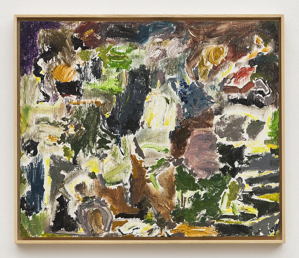 Joaquín Boz. <em>Untitled</em>, 2020. Oil on wood, 15 1/2 x 18 1/4 inches (39.5 x 46.5 cm)