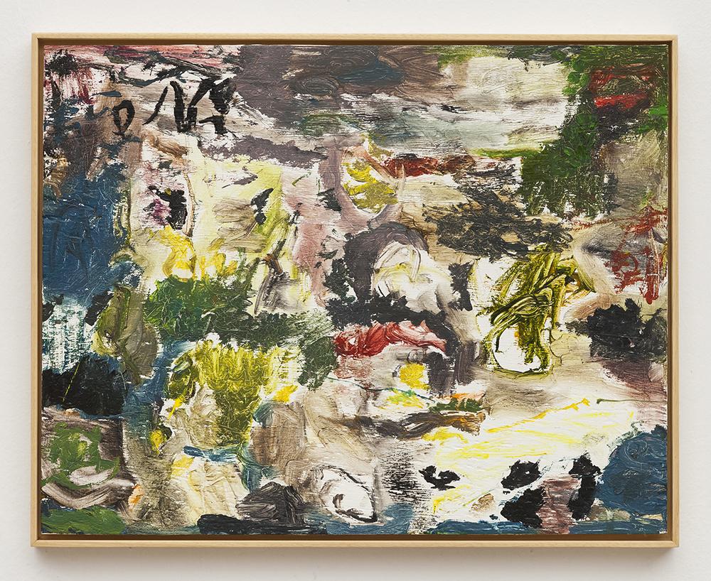 Joaquín Boz. <em>Untitled</em>, 2020. Oil on wood, 16 5/8 x 20 7/8 inches (42.1 x 53 cm)