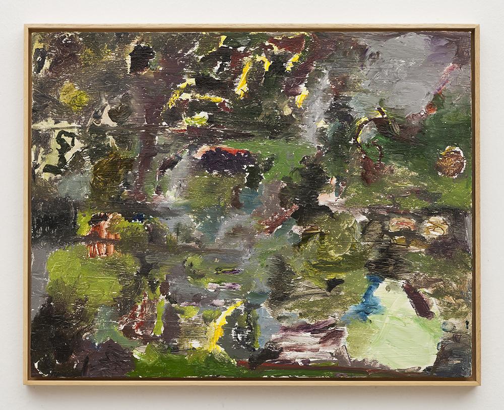 Joaquín Boz. <em>Untitled</em>, 2020. Oil on wood, 16 1/2 x 20 7/8 inches (42 x 53 cm)