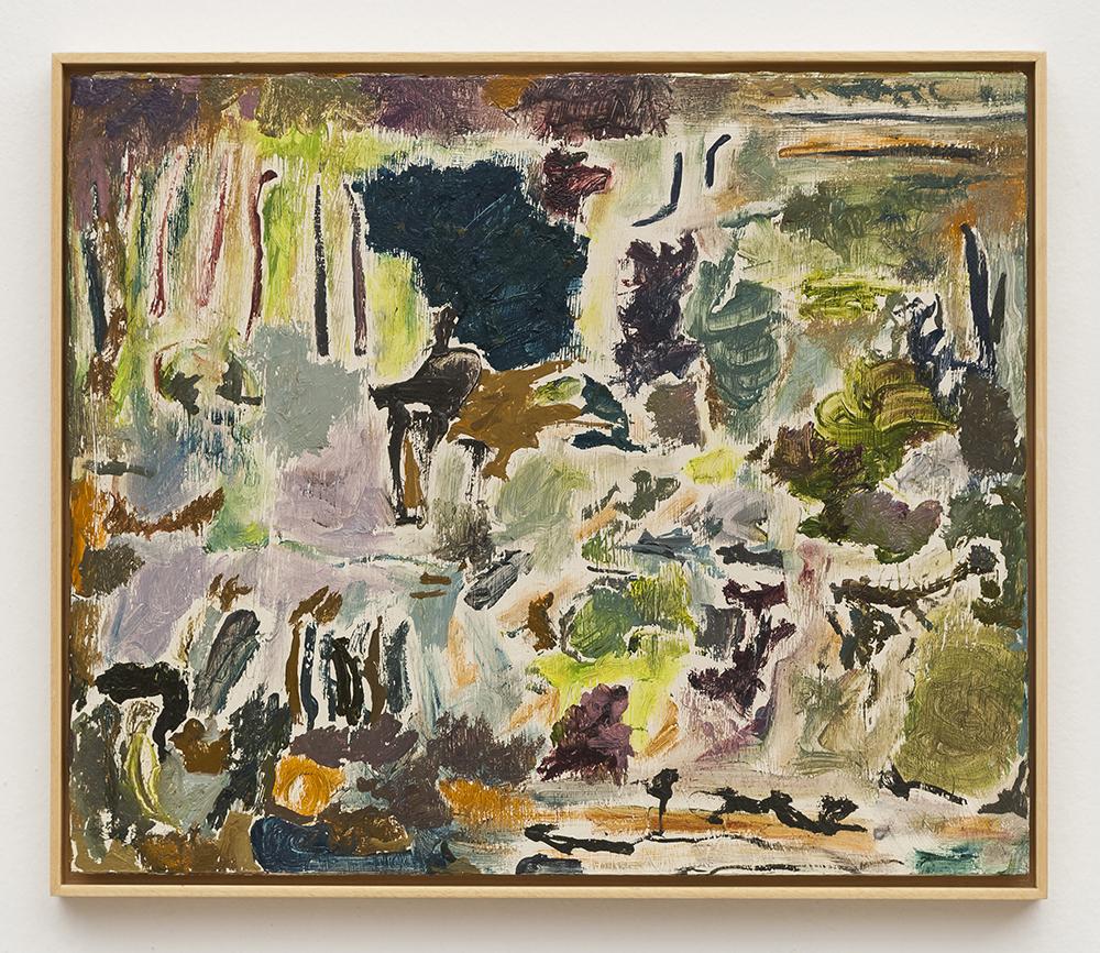Joaquín Boz. <em>Untitled</em>, 2020. Oil on wood, 15 1/2 x 18 1/4 inches (39.5 x 46.4 cm)