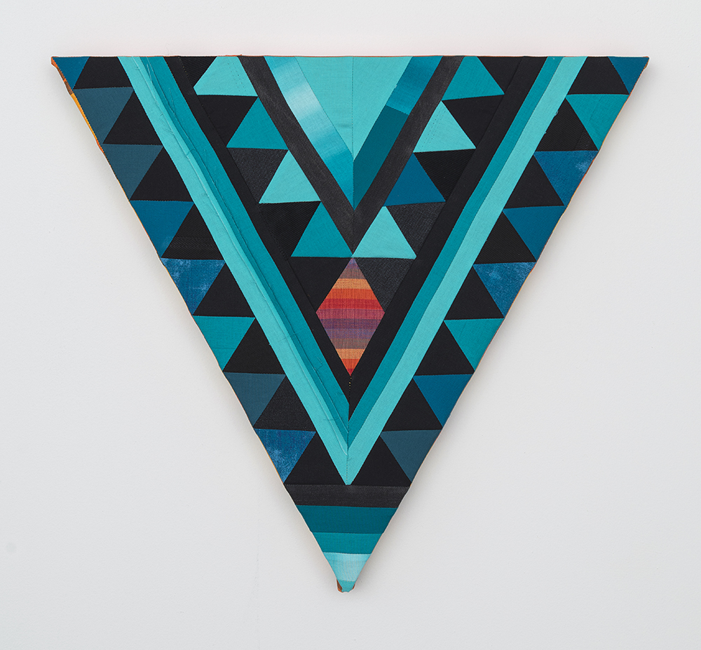 Paolo Arao. <em>Healer</em>, 2020. Sewn cotton, denim, corduroy, canvas and handwoven fibers on shaped wood support, 19 3/4 x 22 inches (50.2 x 55.9 cm)