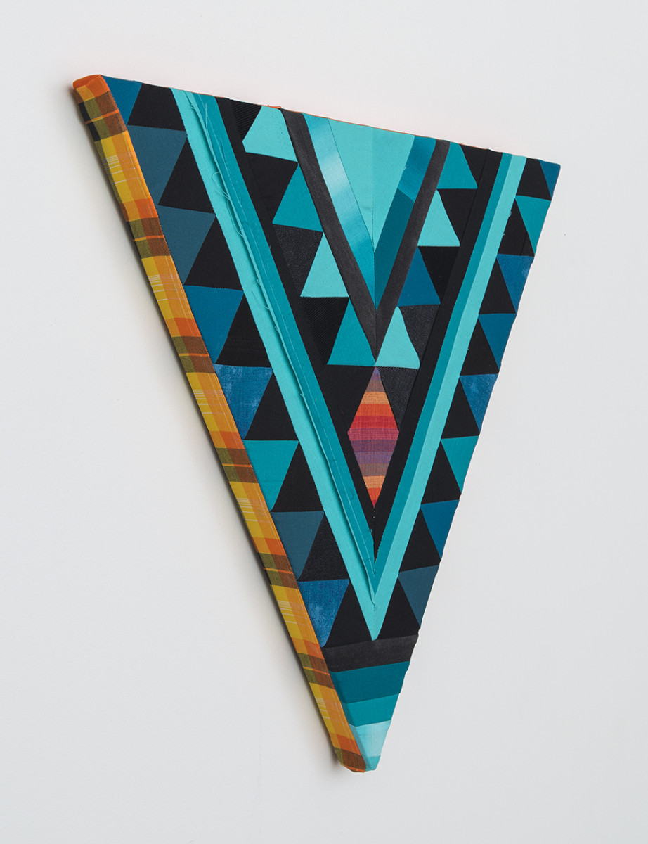 Paolo Arao. <em>Healer</em>, 2020. Sewn cotton, denim, corduroy, canvas and handwoven fibers on shaped wood support, 19 3/4 x 22 inches (50.2 x 55.9 cm) Detail