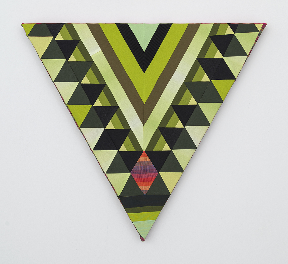 Paolo Arao. <em>Sage</em>, 2020. Sewn cotton, denim, corduroy, canvas and handwoven fibers on shaped wood support, 19 3/4 x 22 inches (50.2 x 55.9 cm)