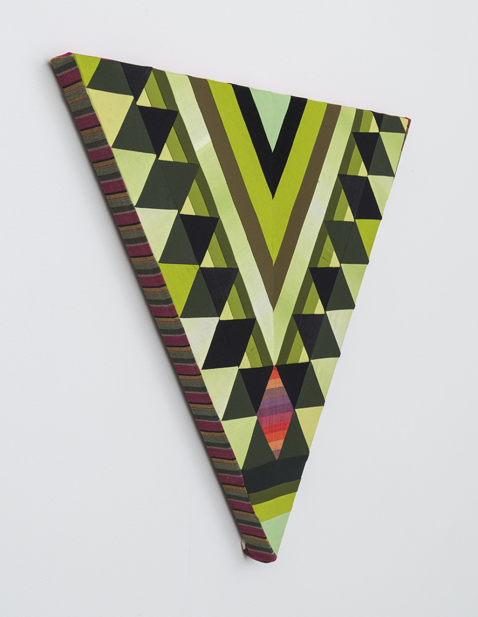 Paolo Arao. <em>Sage</em>, 2020. Sewn cotton, denim, corduroy, canvas and handwoven fibers on shaped wood support, 19 3/4 x 22 inches (50.2 x 55.9 cm) Detail
