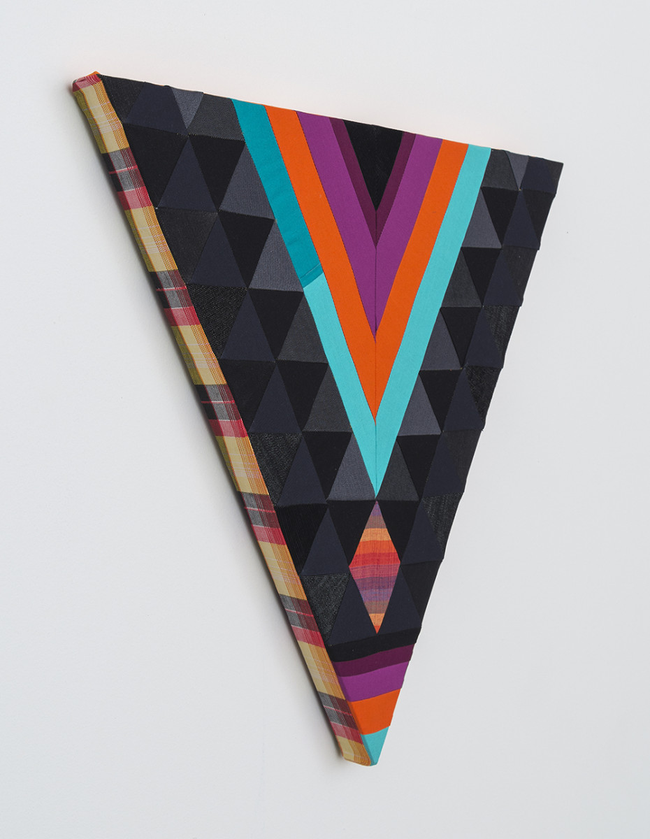 Paolo Arao. <em>Seer</em>, 2020. Sewn cotton, denim, corduroy, canvas and handwoven fibers on shaped wood support, 19 3/4 x 22 inches (50.2 x 55.9 cm) Detail