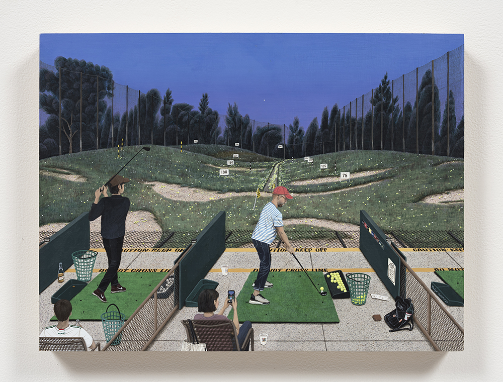 Paige Jiyoung Moon. <em>Sunset Golfing</em>, 2020. Acrylic on panel, 12 x 16 inches (30.5 x 40.6 cm)