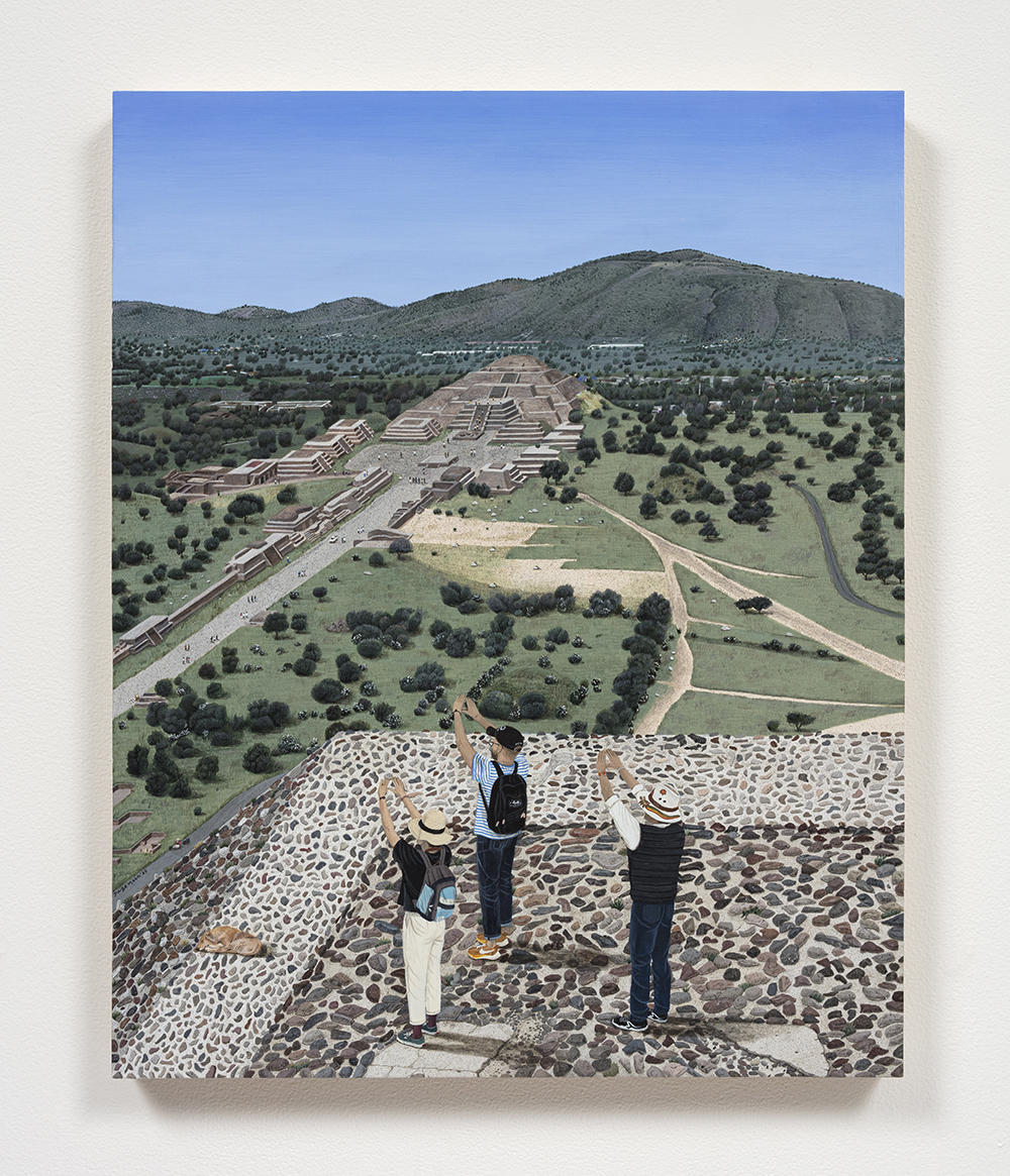 Paige Jiyoung Moon. <em>Teotihuacan and Us</em>, 2020. Acrylic on panel, 20 x 16 inches (50.8 x 40.6 cm)