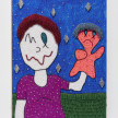 Benjamin Cabral. <em>Me And A Puppet (An Optimistic Friend)</em>, 2020. Rhinestones, faux pearls and beads on acrylic painted wood panel, 48 x 36 inches (121.9 x 91.4 cm) thumbnail