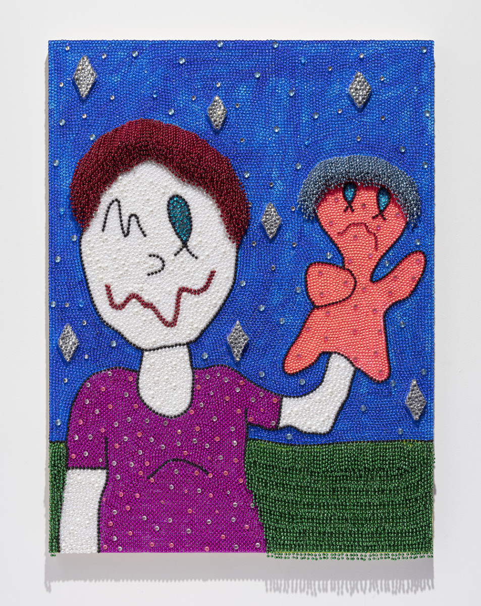 Benjamin Cabral. <em>Me And A Puppet (An Optimistic Friend)</em>, 2020. Rhinestones, faux pearls and beads on acrylic painted wood panel, 48 x 36 inches (121.9 x 91.4 cm)