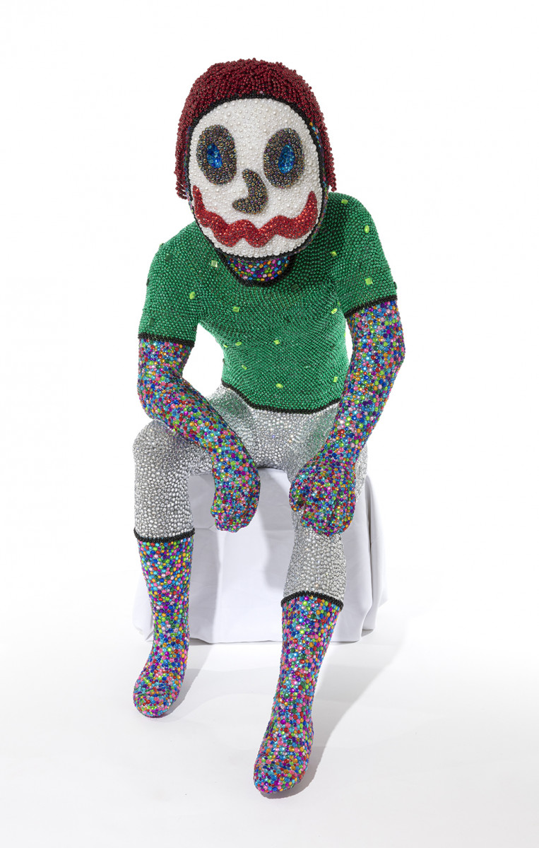 Benjamin Cabral. <em>Self-Portrait (Performing as Audience)</em>, 2020. Rhinestones, faux pearls, beads, plastic, paper clay and acrylic on plastic human form, 55 x 41 x 23 inches (139.7 x 104.1 x 58.4 cm)