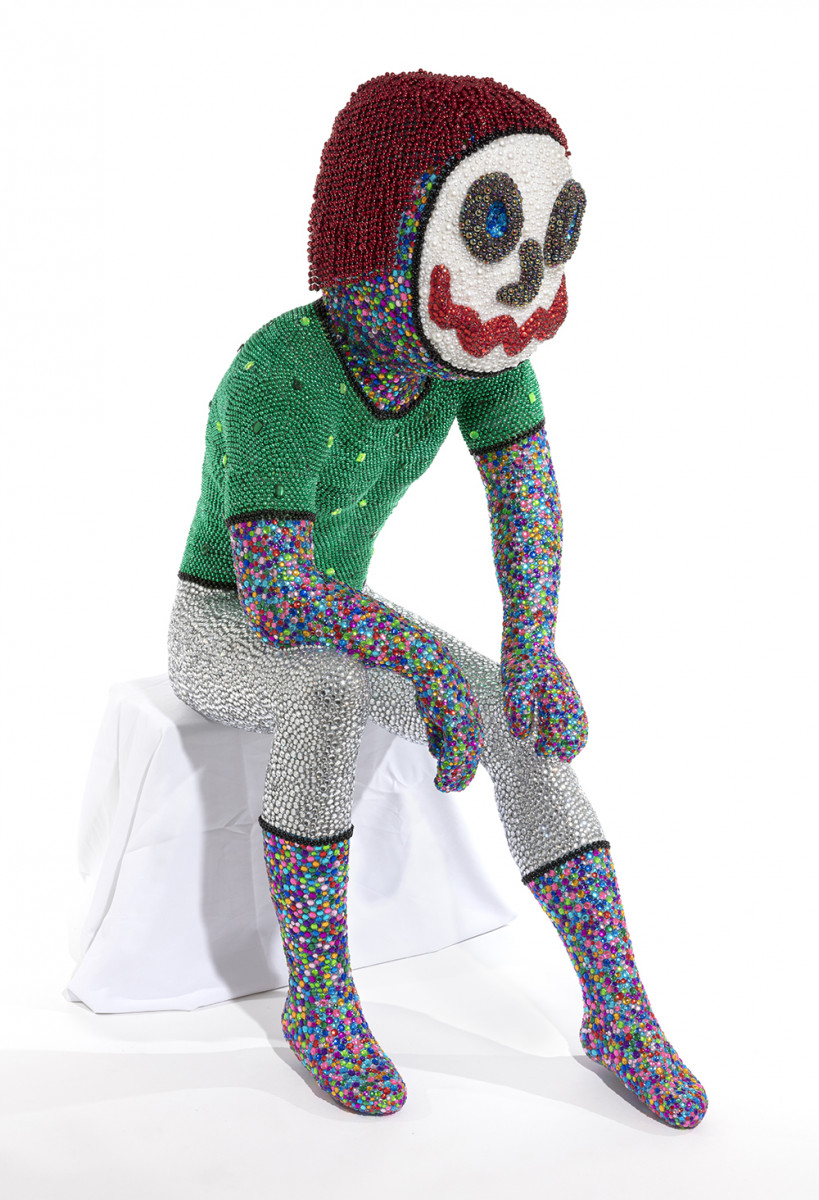 Benjamin Cabral. <em>Self-Portrait (Performing as Audience)</em>, 2020. Rhinestones, faux pearls, beads, plastic, paper clay and acrylic on plastic human form, 55 x 41 x 23 inches (139.7 x 104.1 x 58.4 cm) Detail