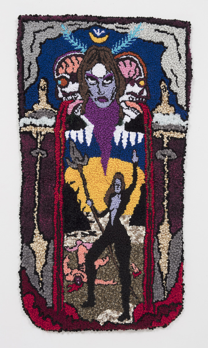 Hannah Epstein. <em>At The Gates of 2020</em>, 2020. Wool, acrylic, polyester, cotton and burlap, 51 x 30 inches (129.5 x 76.2 cm)