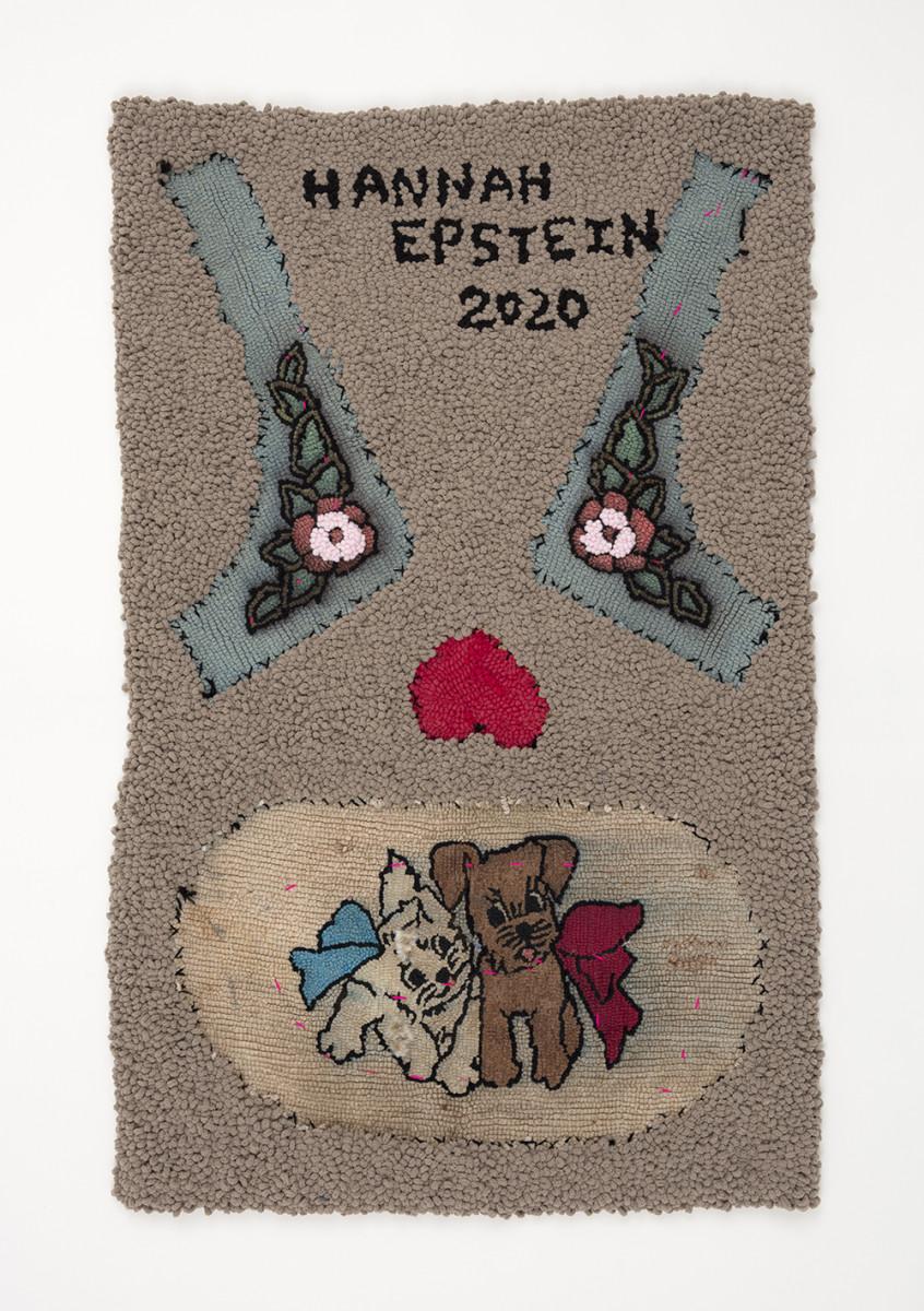Hannah Epstein. <em>Hannah Epstein 2020</em>, 2020. Acrylic, polyester, cotton, burlap and vintage hooked rugs, 49 x 30 inches (124.5 x 76.2 cm)