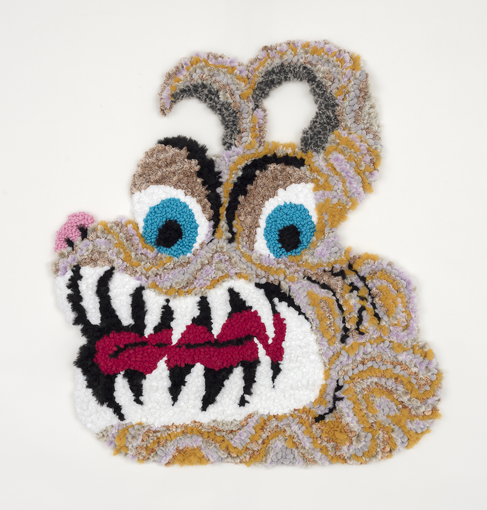 Hannah Epstein. <em>Tiger Tongue</em>, 2020. Acrylic, polyester, cotton and burlap, 36 x 32 inches (91.4 x 81.3 cm)