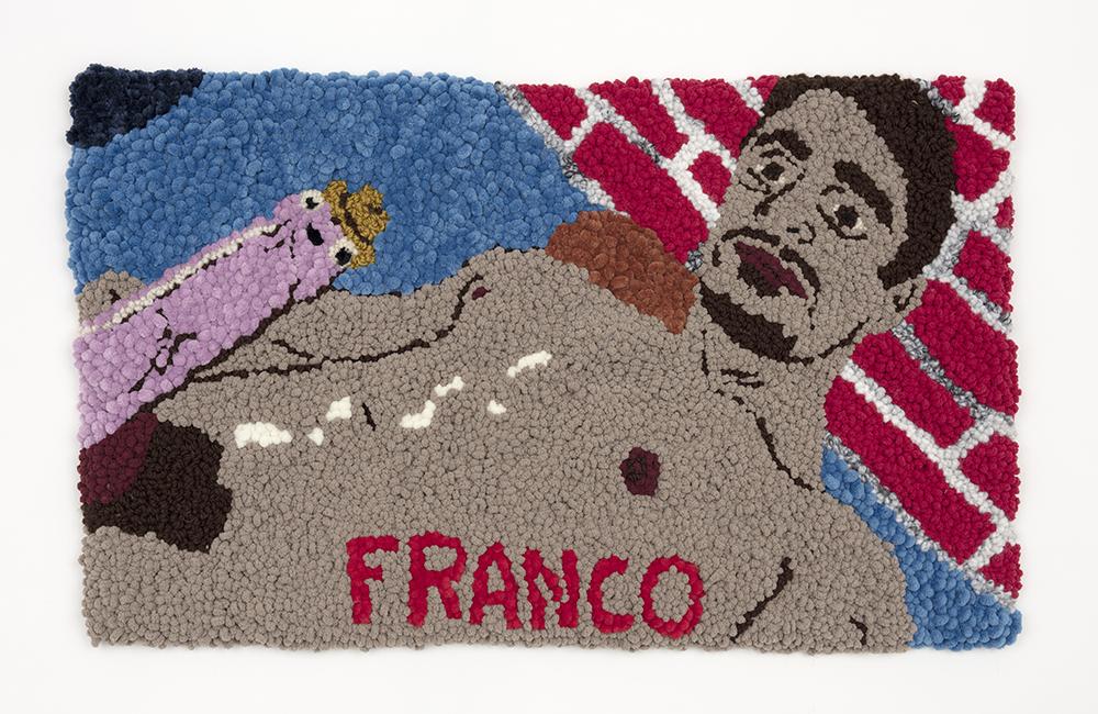 Hannah Epstein. <em>James Franco, Cumedy Genius</em>, 2020. Wool, acrylic, polyester, cotton and burlap, 20 x 33 inches (50.8 x 83.8 cm)