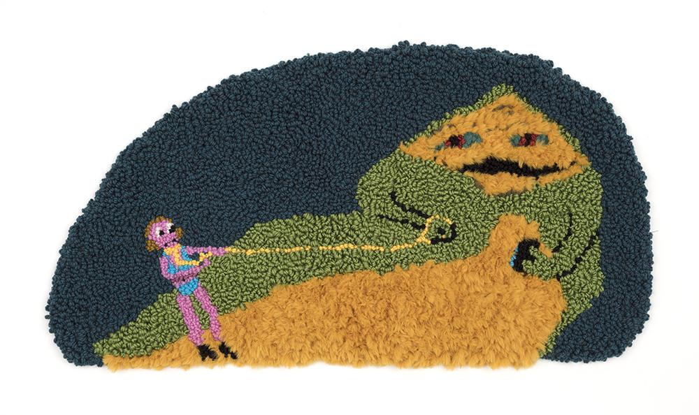 Hannah Epstein. <em>Jabba</em>, 2020. Wool, acrylic, polyester, cotton and burlap, 19 x 35 1/2 inches (48.3 x 90.2 cm)
