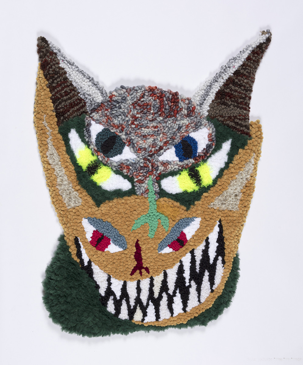 Hannah Epstein. <em>Triple Trick</em>, 2020. Wool, acrylic, polyester, cotton and burlap, 38 1/2 x 27 inches (97.8 x 68.6 cm)