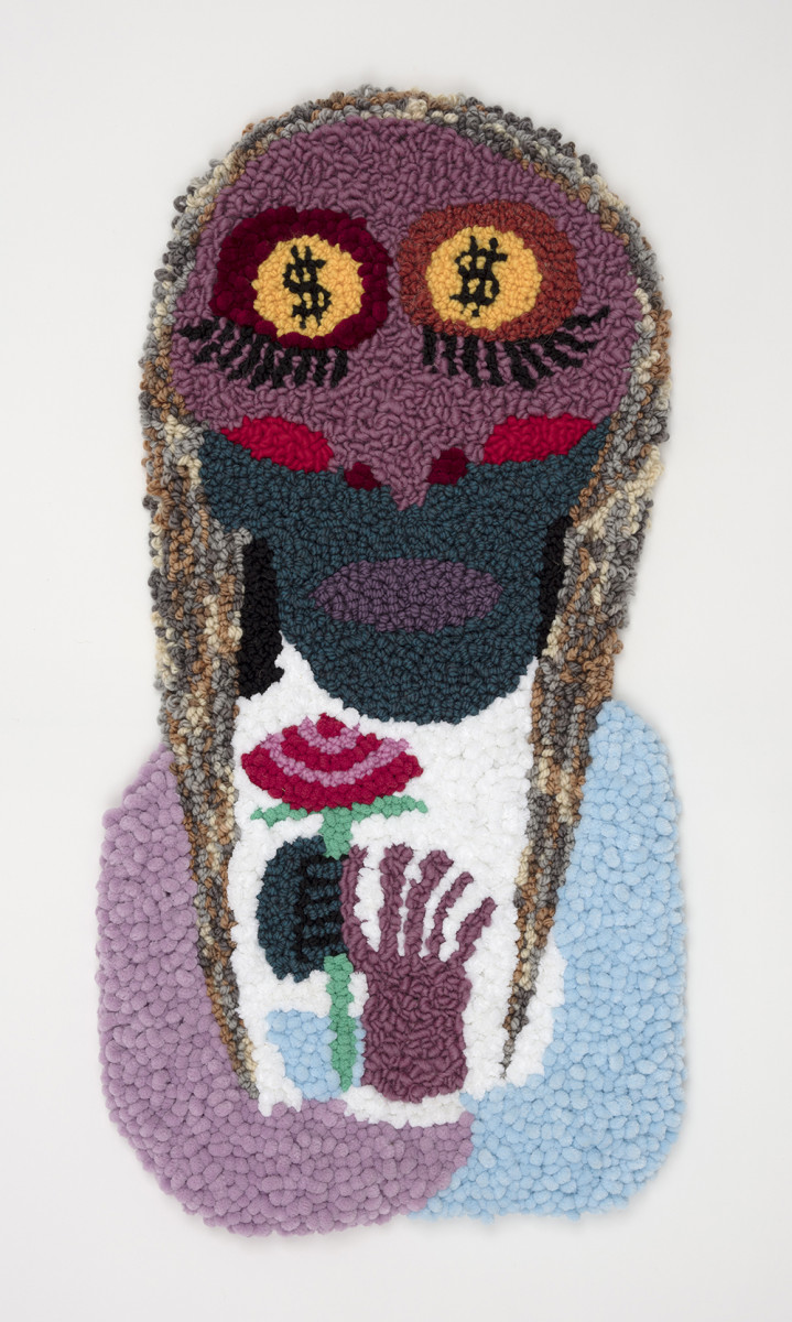 Hannah Epstein. <em>Death Rites (Eyes on the Prize)</em>, 2020. Wool, acrylic, cotton and burlap, 33 x 17 inches (83.8 x 43.2 cm)