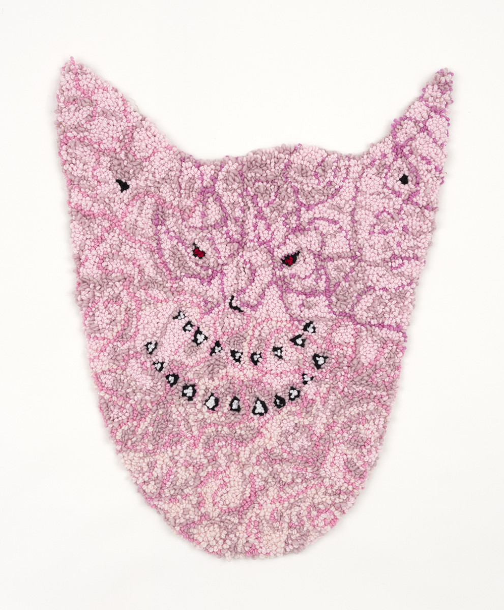 Hannah Epstein. <em>Jeffrey</em>, 2020. Wool, acrylic, cotton and burlap, 34 x 26 inches (86.4 x 66 cm)