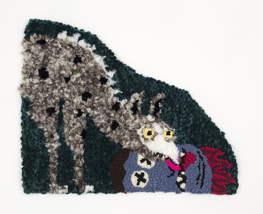 Hannah Epstein. <em>The Kiss</em>, 2020. Wool, acrylic, polyester, cotton and burlap, 23 x 28 inches (58.4 x 71.1 cm)