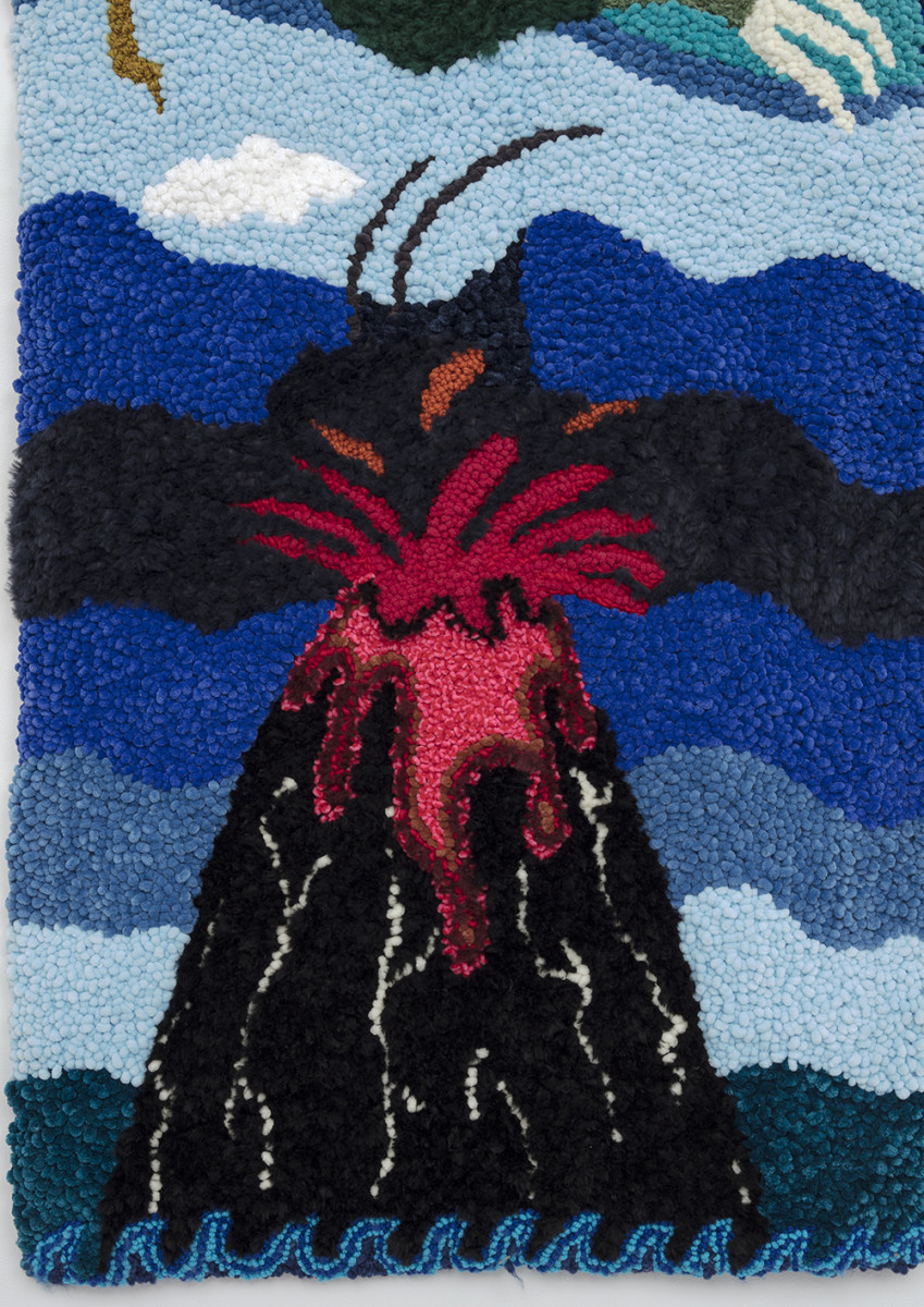 Hannah Epstein. <em>Unbridled</em>, 2020. Wool, acrylic, polyester, cotton and burlap, 108 x 113 inches (274.3 x 287 cm) Detail