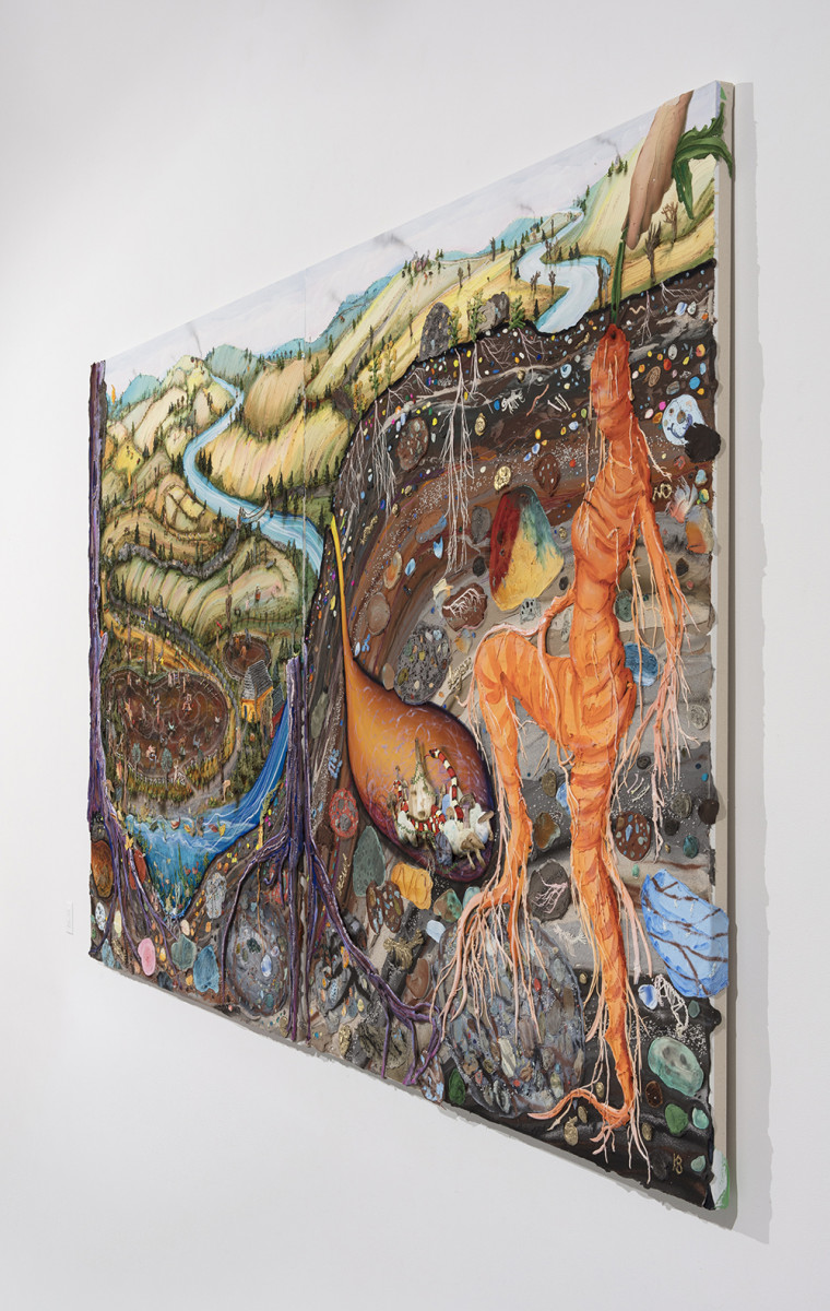 Kate Klingbeil. <em>Carrot and Stick</em>, 2020. Acrylic, pigment, watercolor, vinyl paint, pumice, sand, crushed garnet, cast brass, cast iron, micro plastics from Lake Michigan and oil stick on canvas, 144 x 80 x 2 1/2 inches (365.8 x 203.2 x 6.4 cm) Detail