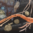 Kate Klingbeil. <em>Carrot and Stick</em>, 2020. Acrylic, pigment, watercolor, vinyl paint, pumice, sand, crushed garnet, cast brass, cast iron, micro plastics from Lake Michigan and oil stick on canvas, 144 x 80 x 2 1/2 inches (365.8 x 203.2 x 6.4 cm) Detail thumbnail
