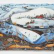 Kate Klingbeil. <em>Pillow Drift</em>, 2020. Acrylic, pigment, watercolor, vinyl paint, pumice, sand, crushed garnet, cast brass, cast iron and oil stick on canvas, 50 1/2 x 70 1/2 x 2 1/2 inches (128.3 x 179.1 x 6.4 cm) thumbnail