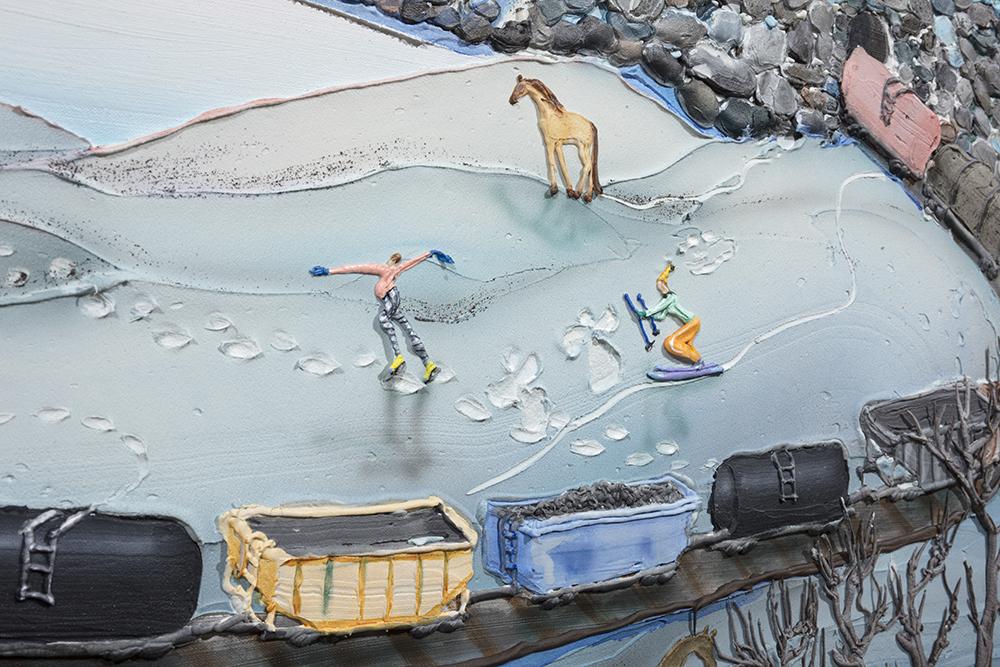 Kate Klingbeil. <em>Pillow Drift</em>, 2020. Acrylic, pigment, watercolor, vinyl paint, pumice, sand, crushed garnet, cast brass, cast iron and oil stick on canvas, 50 1/2 x 70 1/2 x 2 1/2 inches (128.3 x 179.1 x 6.4 cm) Detail
