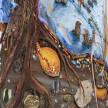 Kate Klingbeil. <em>Pillow Drift</em>, 2020. Acrylic, pigment, watercolor, vinyl paint, pumice, sand, crushed garnet, cast brass, cast iron and oil stick on canvas, 50 1/2 x 70 1/2 x 2 1/2 inches (128.3 x 179.1 x 6.4 cm) Detail thumbnail