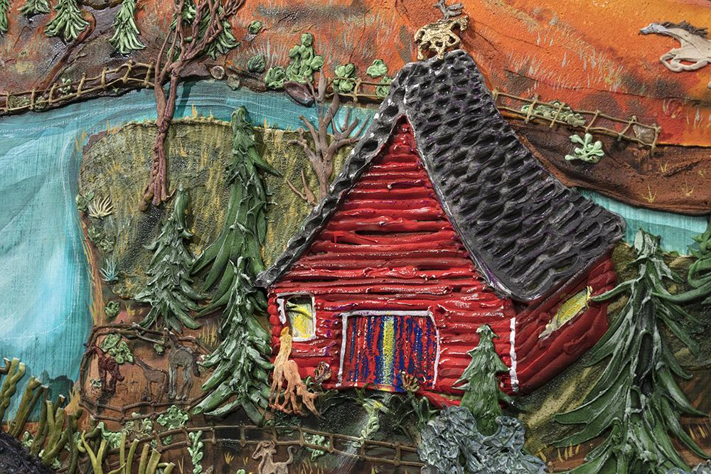 Kate Klingbeil. <em>Saturn Returned</em>, 2020. Acrylic, pigment, watercolor, vinyl paint, pumice, sand, crushed garnet, cast brass and oil stick on canvas, 40 1/4 x 50 1/4 x 2 1/2 inches (102.2 x 127.6 x 6.4 cm) Detail