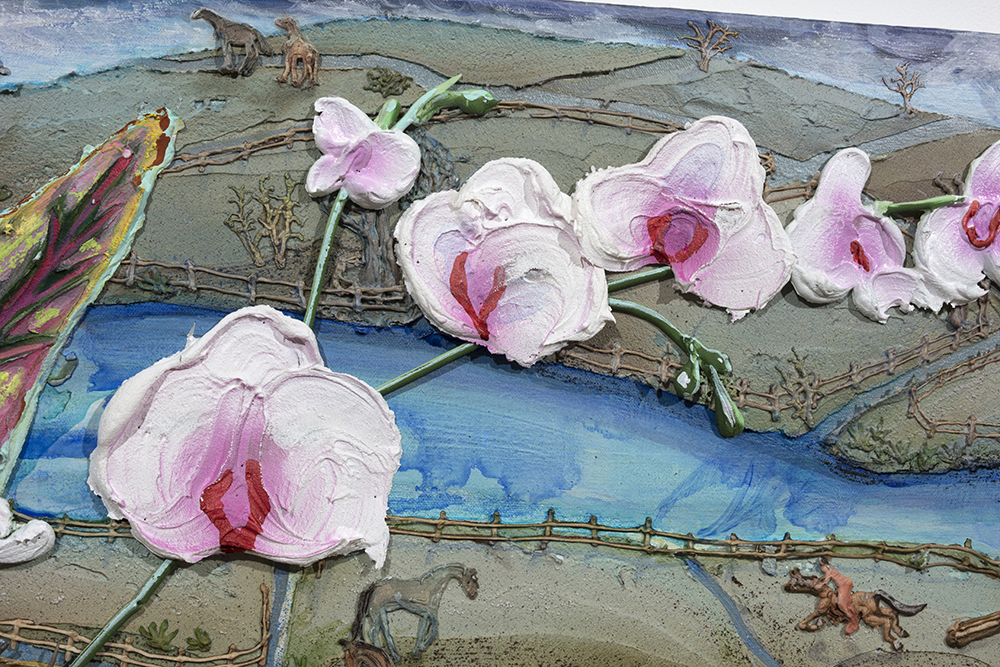 Kate Klingbeil. <em>The Grown Woman</em>, 2020. Acrylic, pigment, watercolor, vinyl paint, pumice, sand, crushed garnet and oil stick on canvas, 48 1/2 x 60 1/2 x 2 1/2 inches (123.2 x 153.7 x 6.4 cm) Detail