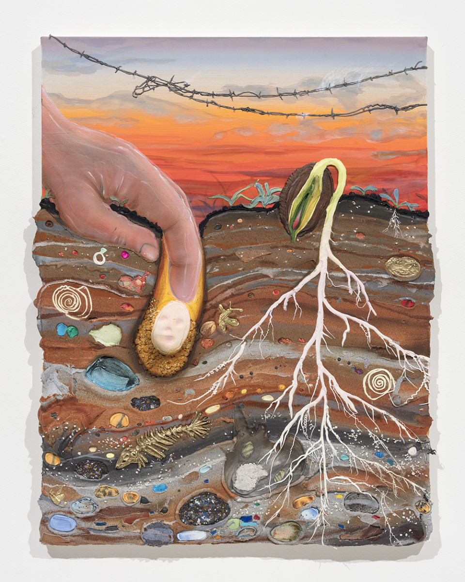 Kate Klingbeil. <em>The Seed and The Sprout</em>, 2020. Acrylic, pigment, watercolor, vinyl paint, pumice, sand, crushed garnet, cast brass, cast iron, micro plastics from Lake Michigan and oil stick on canvas, 34 x 27 1/4 x 1 3/4 inches (86.4 x 69.2 x 4.4 cm)