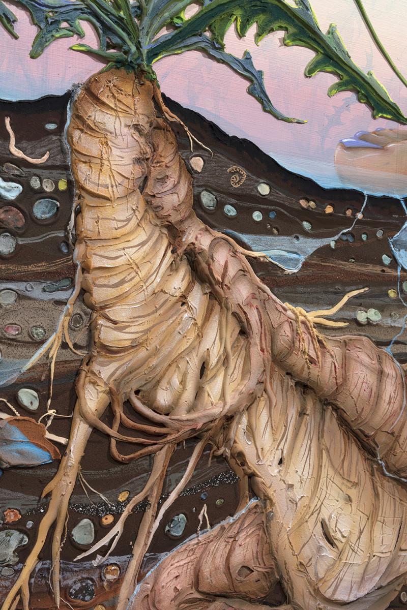 Kate Klingbeil. <em>Grown Together</em>, 2020. Acrylic, pigment, watercolor, vinyl paint, pumice, sand, crushed garnet and oil stick on canvas, 28 1/4 x 34 1/2 x 2 inches (71.8 x 87.6 x 5.1 cm) Detail