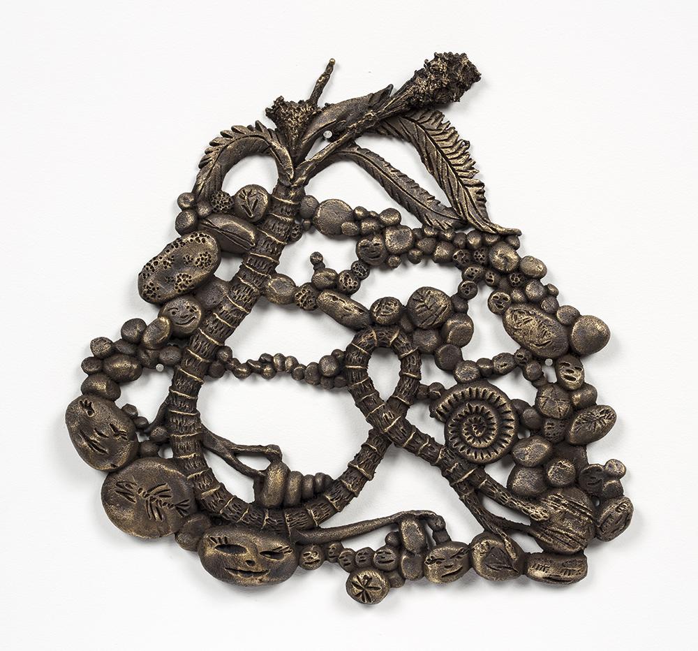 Kate Klingbeil. <em>Twisted Root</em>, 2020. Cast brass, 9 1/4 x 9 1/2 x 3/4 inches (23.5 x 24.1 x 86.4 cm)