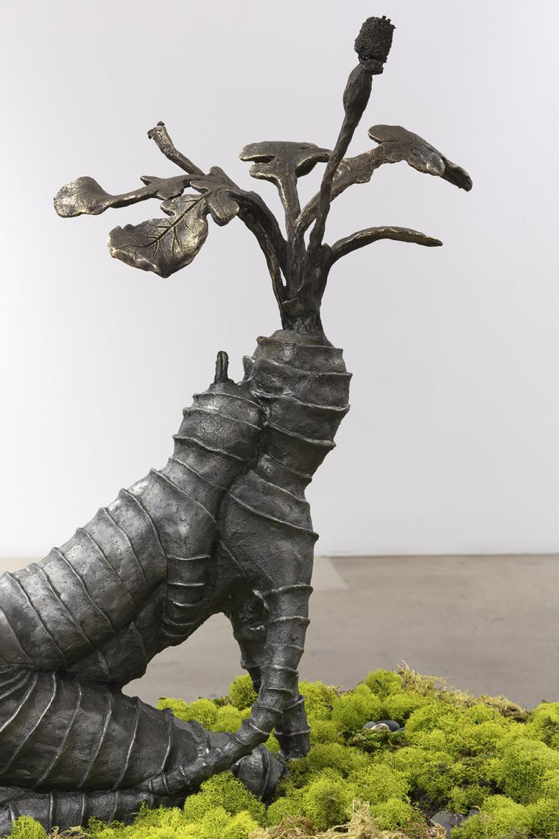 Kate Klingbeil. <em>Grown Together (Thistle)</em>, 2020. Cast iron and brass, 23 1/4 x 32 x 13 1/2 inches (59.1 x 81.3 x 34.3 cm) Detail