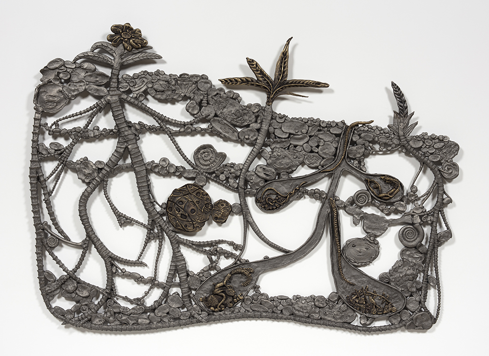 Kate Klingbeil. <em>Show Me Your Garden And I Shall See What You Are</em>, 2020. Cast iron and brass, 38 x 53 x 1 inches (96.5 x 134.6 x 2.5 cm)