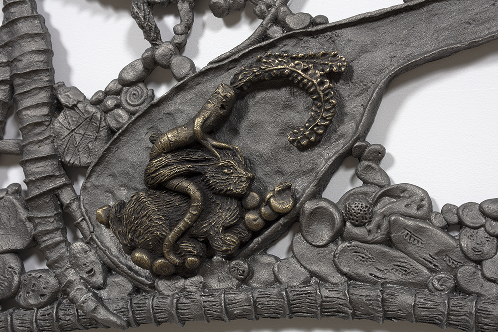 Kate Klingbeil. <em>Show Me Your Garden And I Shall See What You Are</em>, 2020. Cast iron and brass, 38 x 53 x 1 inches (96.5 x 134.6 x 2.5 cm) Detail