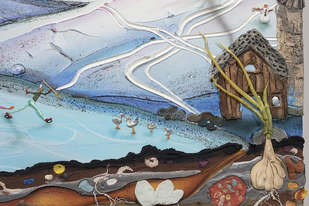 Kate Klingbeil. <em>Milk Run</em>, 2020. Acrylic, vinyl, pumice, sand, crushed garnet, watercolor and oil stick on canvas, 30 1/4 x 40 1/4 x 1 1/2 inches (76.8 x 102.2 x 3.8 cm) Detail