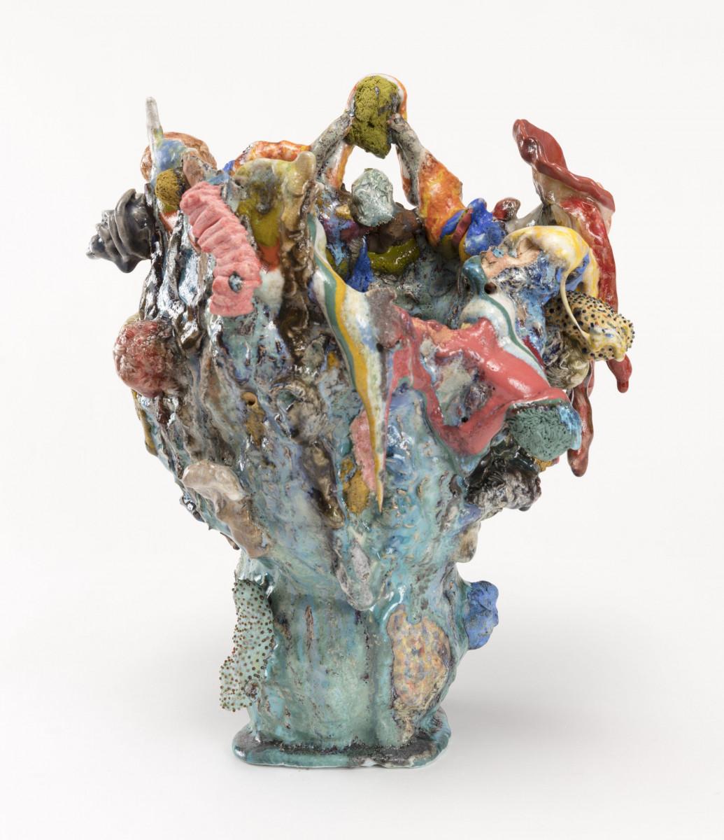 Kazuhito Kawai. <em>Last Christmas</em>, 2020. Glazed ceramic, 15 3/8 x 11 3/4 x 11 3/4 inches (39 x 30 x 30 cm) Detail