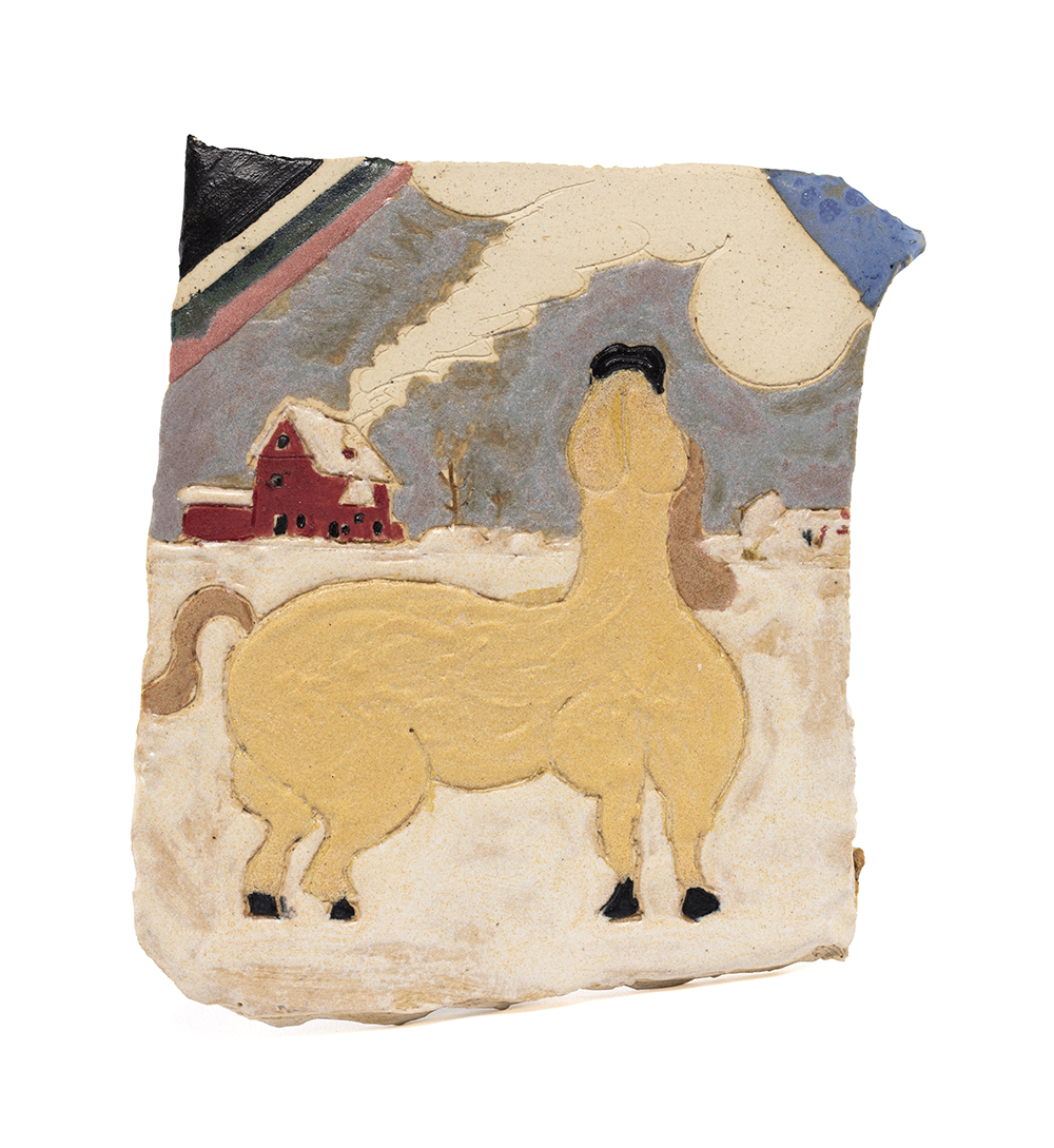 Kevin McNamee-Tweed. <em>Second Snow (Horse Looking Up)</em>, 2020. Glazed ceramic, 5 x 4 1/2 inches (12.7 x 11.4 cm)