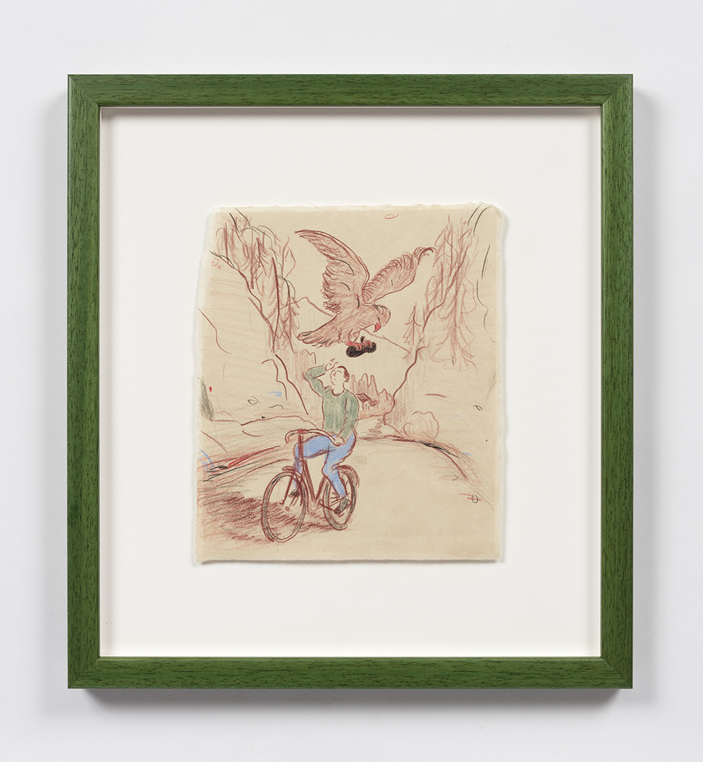 Kevin McNamee-Tweed. <em>Eagle Taking Beret From Artist</em>, 2020. Pencil on mulberry paper, 8 1/2 x 7 1/4 inches (21.6 x 18.4 cm), 14 1/2 x 13 1/4 inches (36.8 x 33.7 cm) Framed