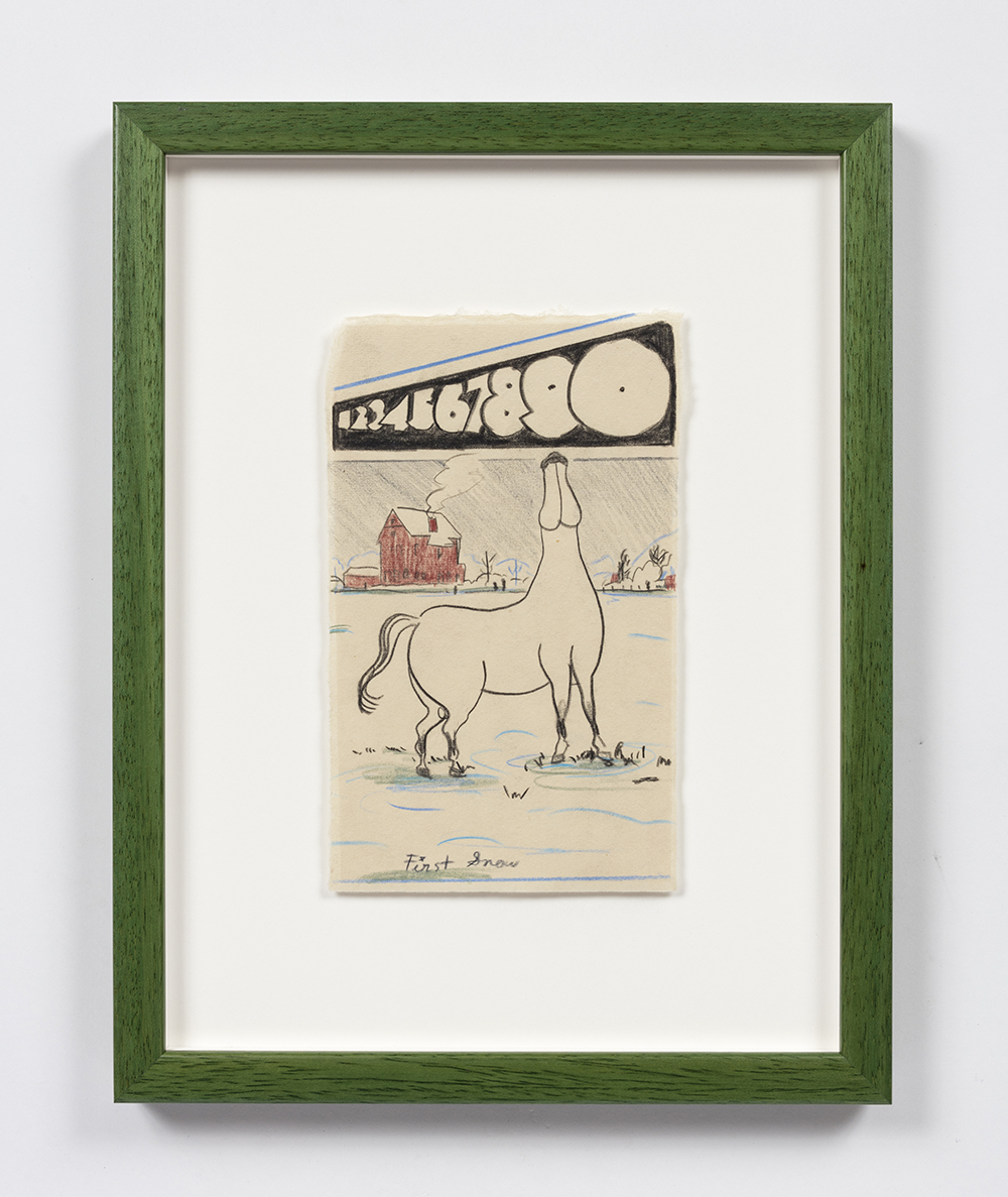 Kevin McNamee-Tweed. <em>First Snow</em>, 2020. Pencil on mulberry paper, 8 1/2 x 5 1/8 inches (21.6 x 13 cm), 14 1/2 x 11 1/4 inches (36.8 x 28.6 cm) Framed