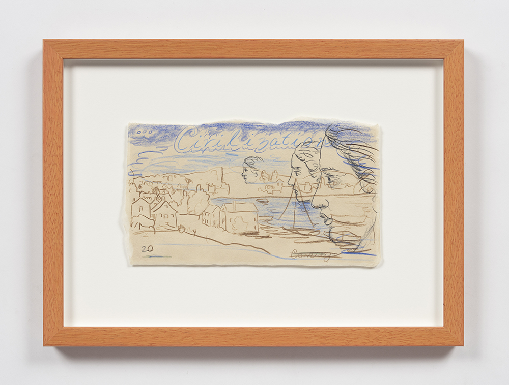 Kevin McNamee-Tweed. <em>Civilization</em>, 2020. Pencil on mulberry paper, 5 1/2 x 9 1/2 inches (14 x 24.1 cm), 11 3/4 x 15 1/2 inches (29.8 x 39.4 cm) Framed