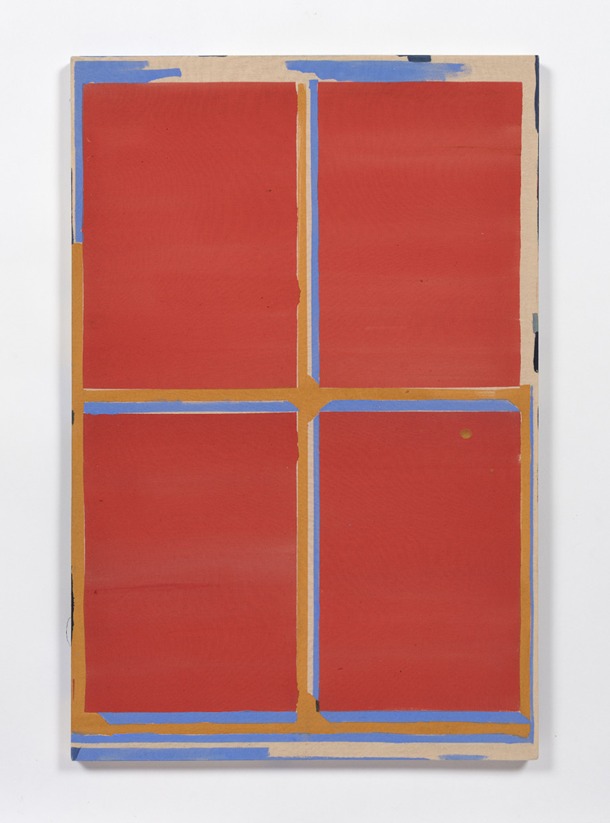Kevin McNamee-Tweed. <em>Red Window with Sky and Marigold</em>, 2019. Acrylic on muslin, 32 x 20 inches (81.3 x 50.8 cm)