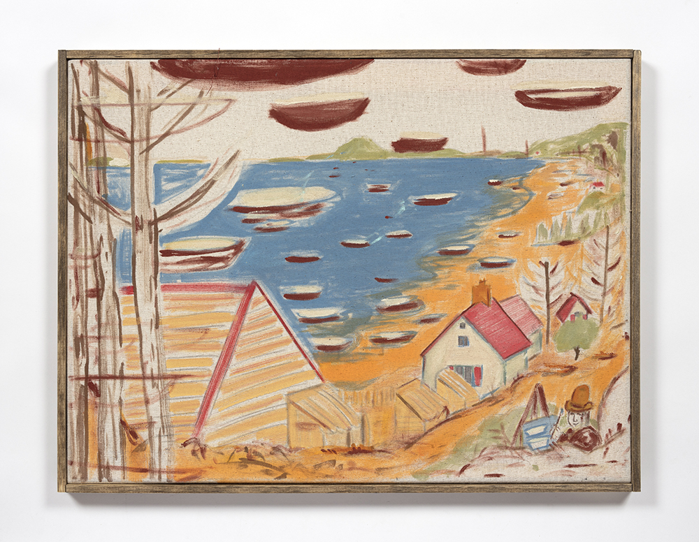 Kevin McNamee-Tweed. <em>Painter, Boats</em>, 2020. Acrylic and pencil on cotton with artist frame, 19 x 24 3/4 inches (48.3 x 62.9 cm)
