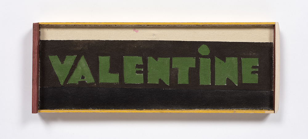 Kevin McNamee-Tweed. <em>Valentine</em>, 2020. Acrylic on canvas on wood with artist frame, 14 1/4 x 5 1/4 inches (36.2 x 13.3 cm)