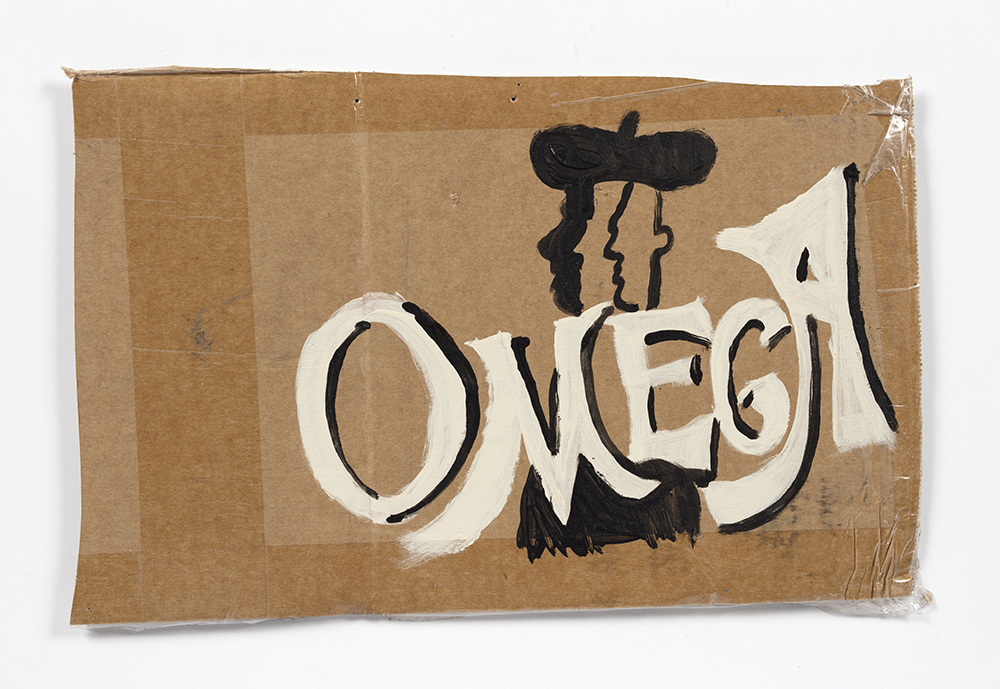 Kevin McNamee-Tweed. <em>Omega (Painter Plural)</em>, 2021. Acrylic and gouache on cardboard, 9 x 13 1/2 inches (22.9 x 34.3 cm)
